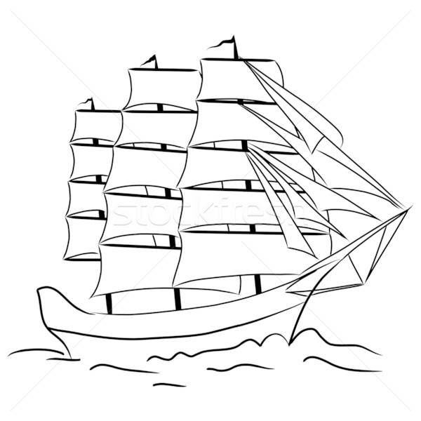 Sketch of nautical sailing vessel Stock photo © angelp
