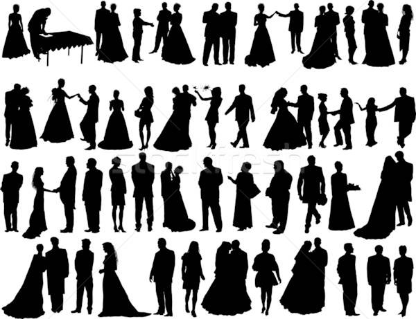 wedding silhouettes Stock photo © angelp