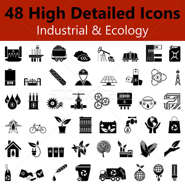 Industrial and Ecology Smooth Icons Stock photo © angelp