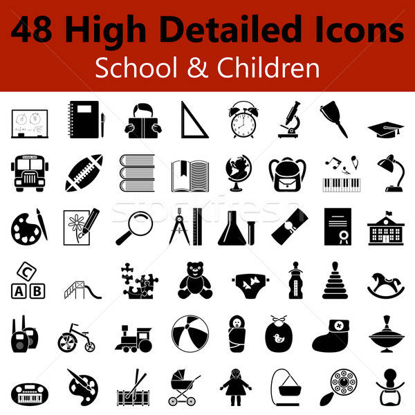 School and Children Smooth Icons Stock photo © angelp