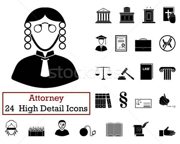 Zestaw 24 prawnik ikona czarny Zdjęcia stock © angelp