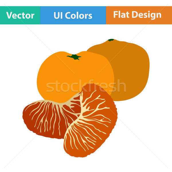 Flat design icon of Mandarin Stock photo © angelp
