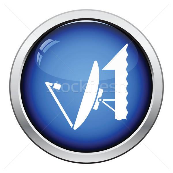 Satélite antena icono botón diseno Foto stock © angelp