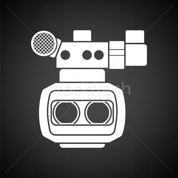 3D filmcamera icon zwart wit technologie film Stockfoto © angelp