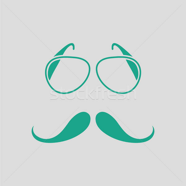 Gläser Schnurrbart Symbol grau grünen Party Stock foto © angelp