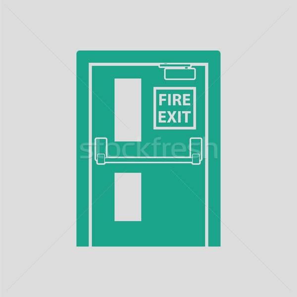огня выход двери икона серый зеленый Сток-фото © angelp