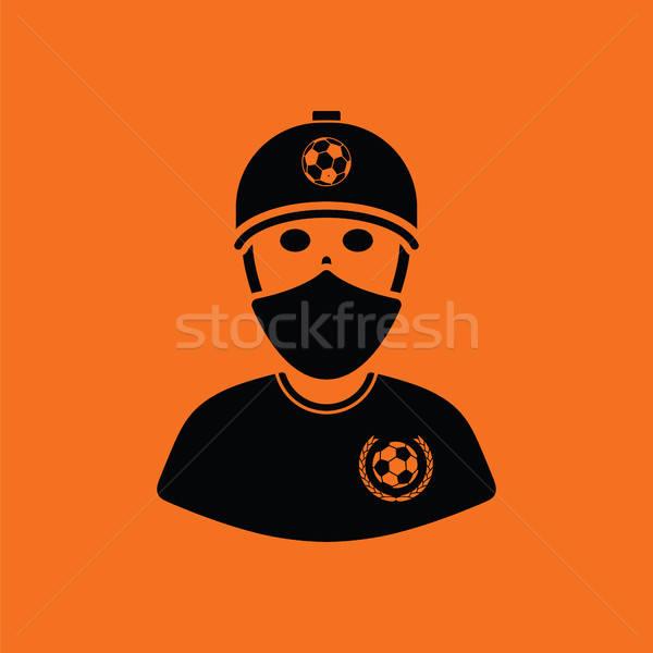 Piłka nożna fan pokryty twarz szalik ikona Zdjęcia stock © angelp