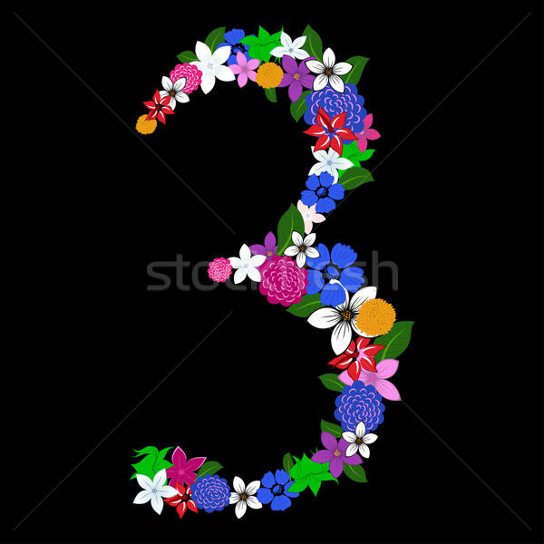 Stock photo: floral numeral