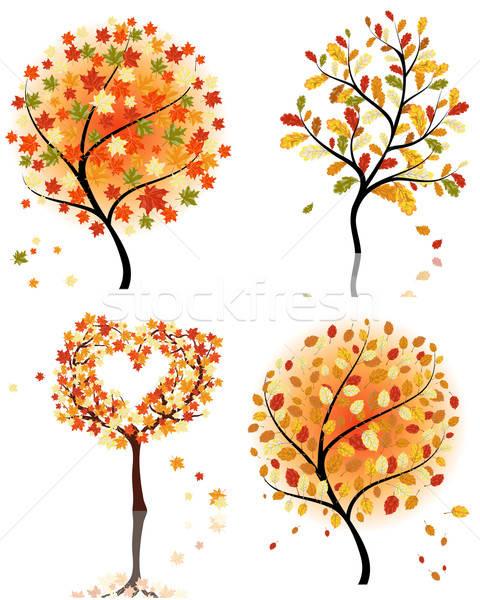 Stok fotoğraf: Ayarlamak · dört · sonbahar · ağaç · orman · güzellik