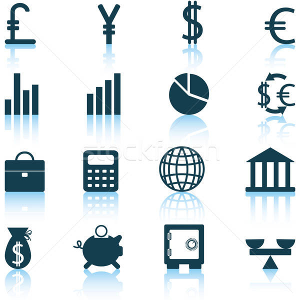 financial icons set Stock photo © angelp