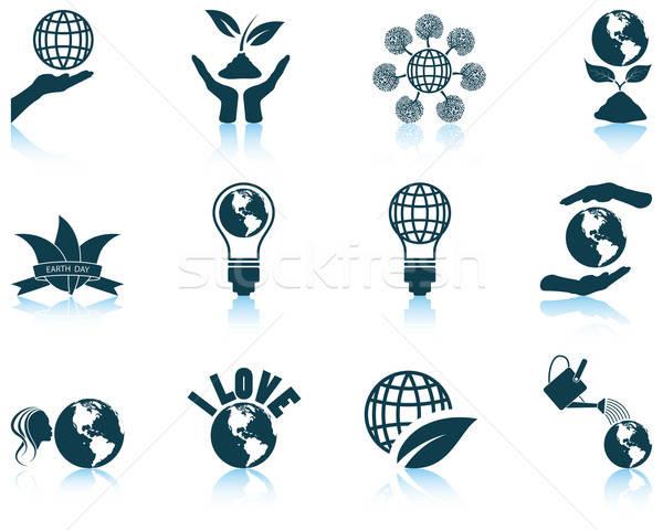 Szett föld napja ikon szett tizenkettő ikonok tükröződések Stock fotó © angelp
