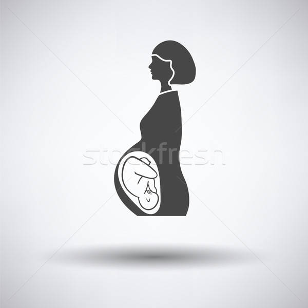 Stock photo: Pregnant woman with baby icon