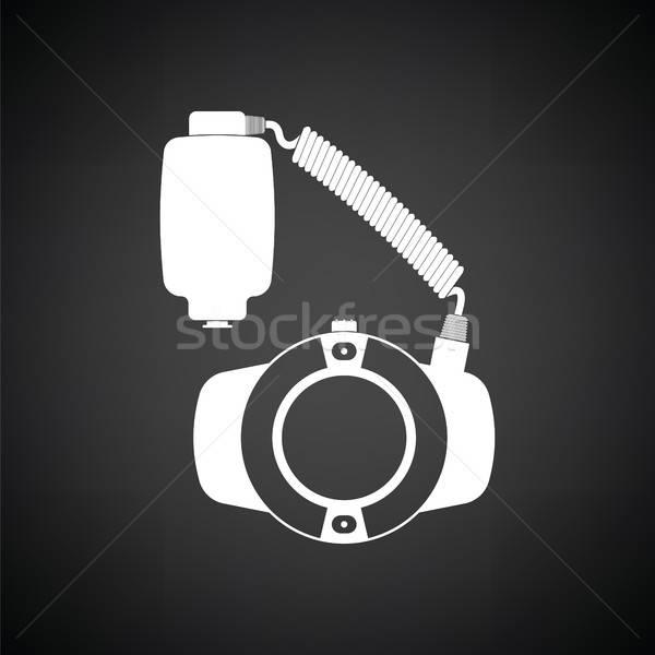 ícone portátil círculo macro flash preto e branco Foto stock © angelp