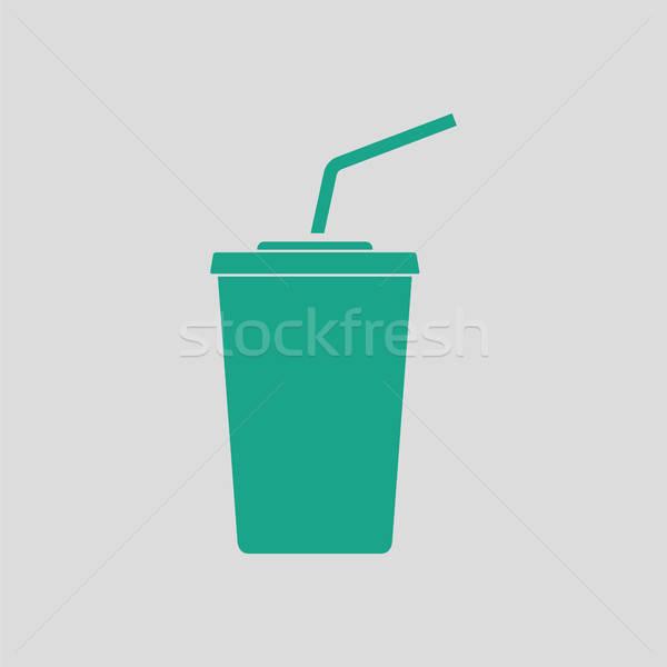 Sinema soda içmek ikon gri yeşil Stok fotoğraf © angelp
