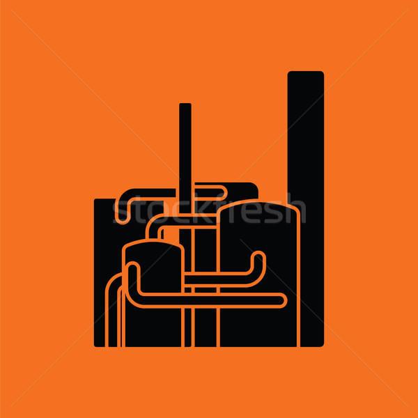 Chimiques usine icône orange noir bâtiment Photo stock © angelp