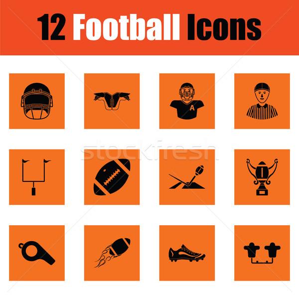 Amerykański piłka nożna ikona pomarańczowy projektu sportu Zdjęcia stock © angelp