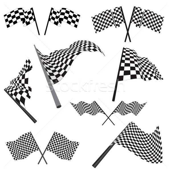 Stockfoto: Ingesteld · racing · vlaggen · zwart · wit · abstract · licht