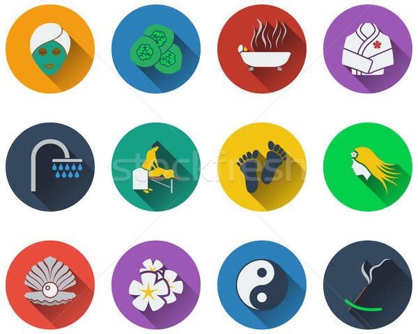 Set of spa icons in flat design Stock photo © angelp