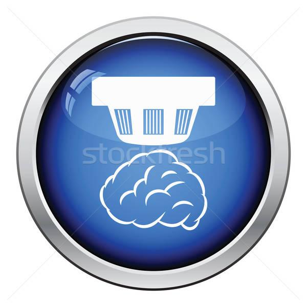 Rauch Sensor Symbol glänzend Taste Design Stock foto © angelp