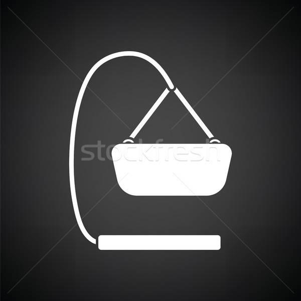 Baby kołyska czarno białe domu drewna podpisania Zdjęcia stock © angelp