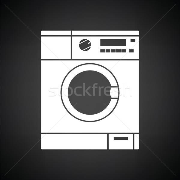 Mosógép ikon feketefehér ház otthon fürdőszoba Stock fotó © angelp