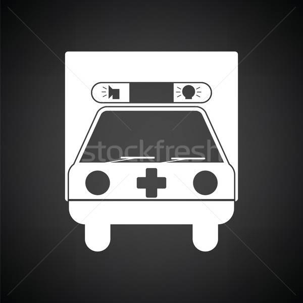 Ambulance auto icon zwart wit arts medische Stockfoto © angelp
