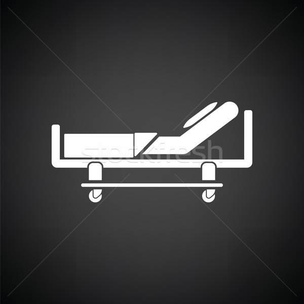 Cama de hospital ícone preto e branco médico atravessar saúde Foto stock © angelp