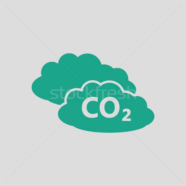 Cloud icon grigio verde sfondo web gas Foto d'archivio © angelp
