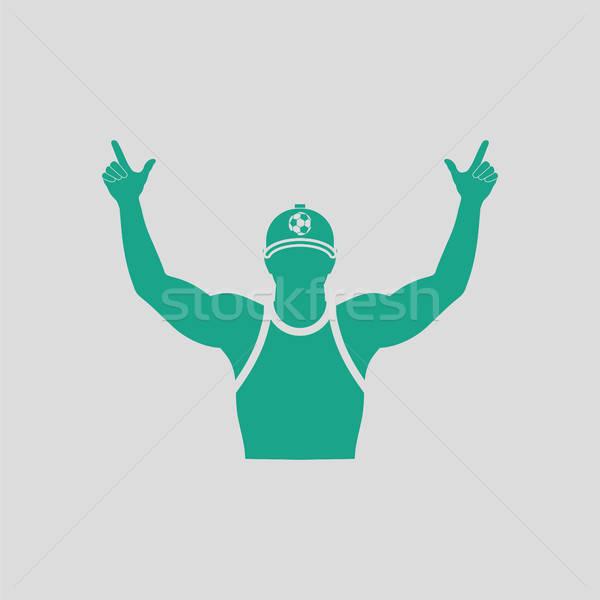 Piłka nożna fan ikona szary zielone Zdjęcia stock © angelp