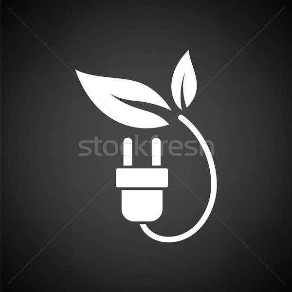 Electric plug leaves icon Stock photo © angelp