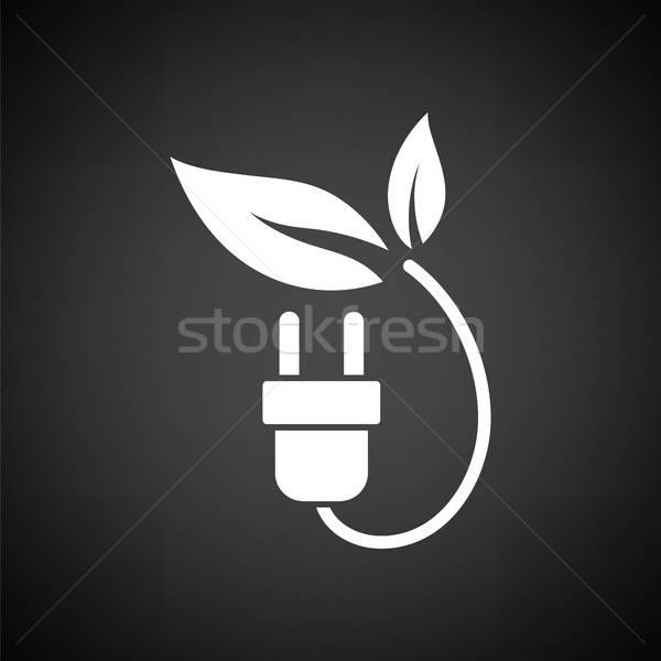 электрических Plug листьев икона черно белые фон Сток-фото © angelp