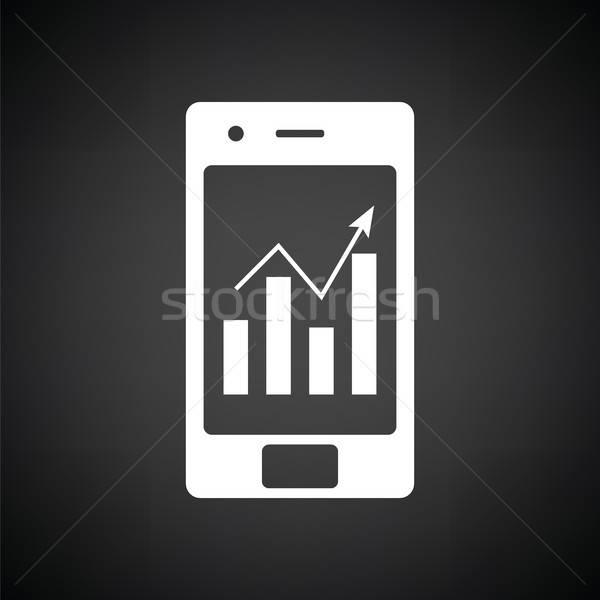Analítica diagrama ícone preto e branco telefone Foto stock © angelp