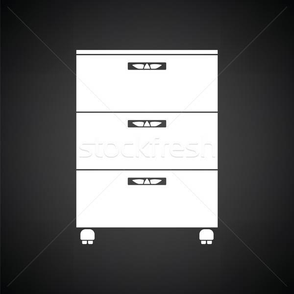 Iroda faliszekrény ikon feketefehér háttér asztal Stock fotó © angelp