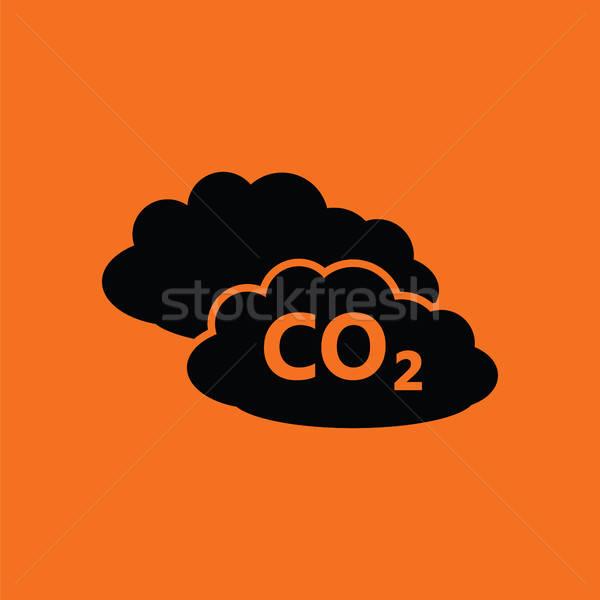 Chmura icon pomarańczowy czarny tle podpisania internetowych Zdjęcia stock © angelp