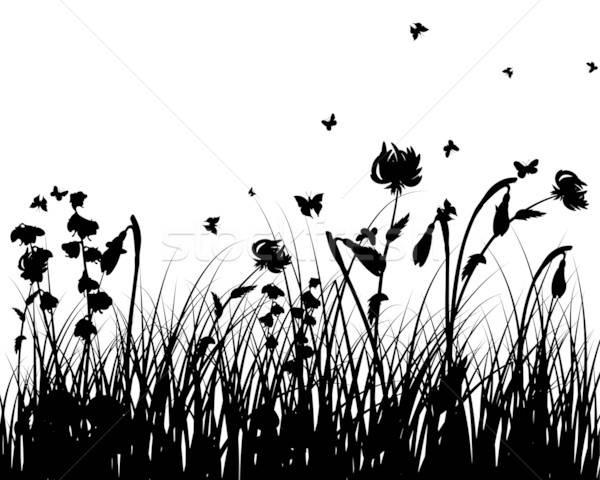 Stok fotoğraf: çayır · siluetleri · vektör · çim · tüm · nesneler