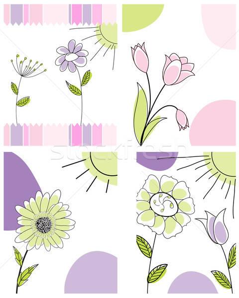 Ingesteld groet kaarten vier vector ontwerp Stockfoto © angelp
