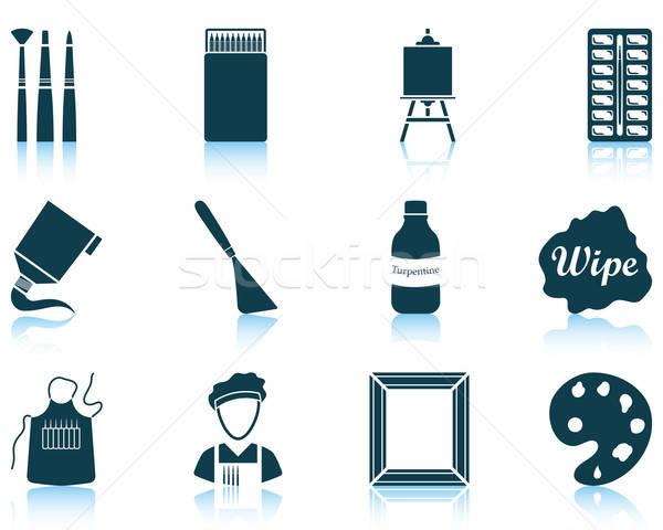 Stockfoto: Ingesteld · schilderij · twaalf · iconen