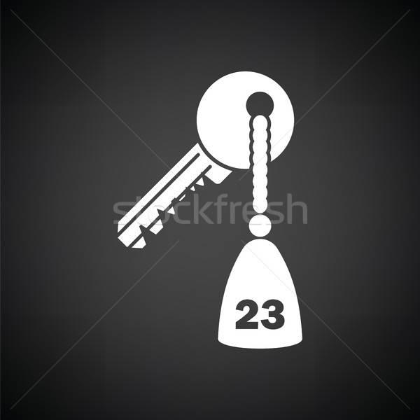 Quarto de hotel chave ícone preto e branco negócio casa Foto stock © angelp