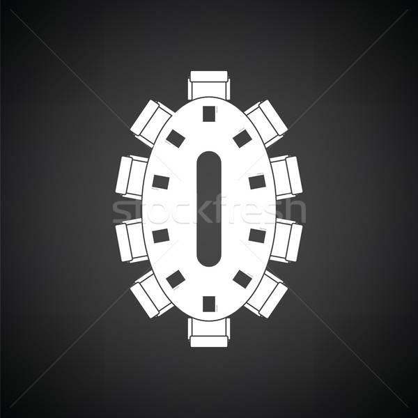 Stock fotó: Tárgyal · asztal · ikon · feketefehér · üzlet · iroda