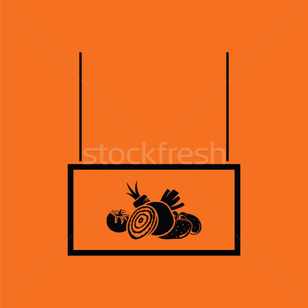 Legumes mercado departamento ícone laranja preto Foto stock © angelp