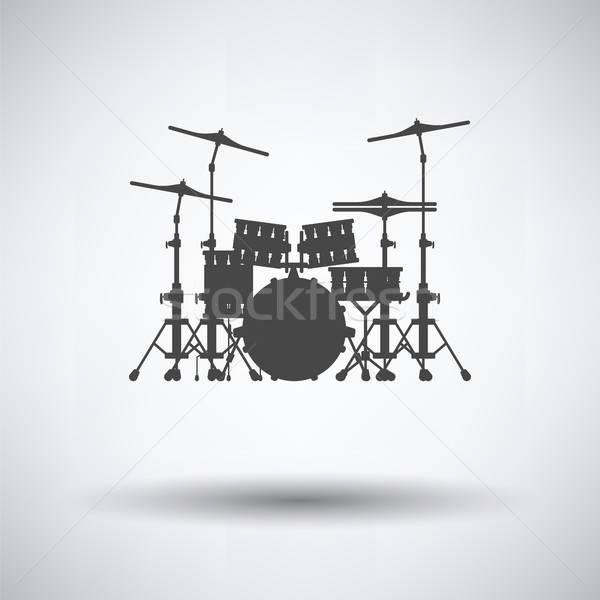 Tambor conjunto ícone cinza música arte Foto stock © angelp