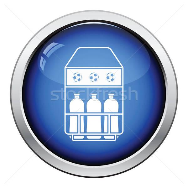 Icône terrain de football bouteille contenant bouton Photo stock © angelp