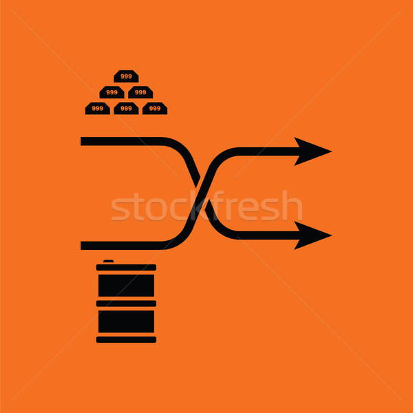 Złota oleju porównanie wykres ikona pomarańczowy Zdjęcia stock © angelp