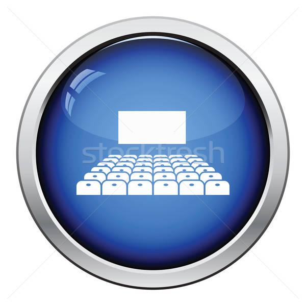Bioscoop gehoorzaal icon glanzend knop ontwerp Stockfoto © angelp