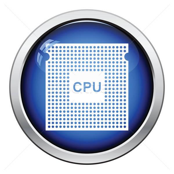 процессор икона кнопки дизайна сеть Сток-фото © angelp