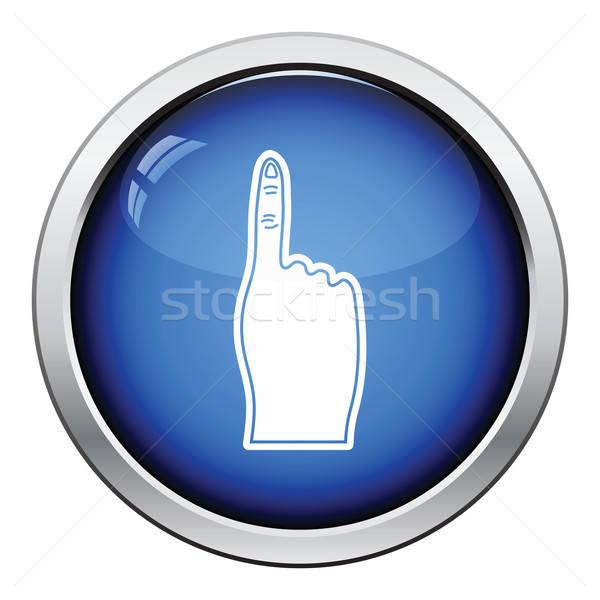 Fans schuim vinger icon glanzend knop Stockfoto © angelp