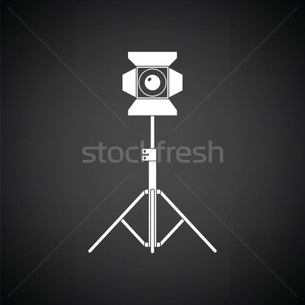 Fase projector icon zwart wit film technologie Stockfoto © angelp