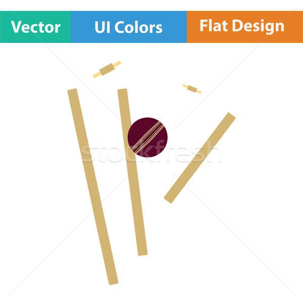 Críquete ícone madeira esportes campo bola Foto stock © angelp