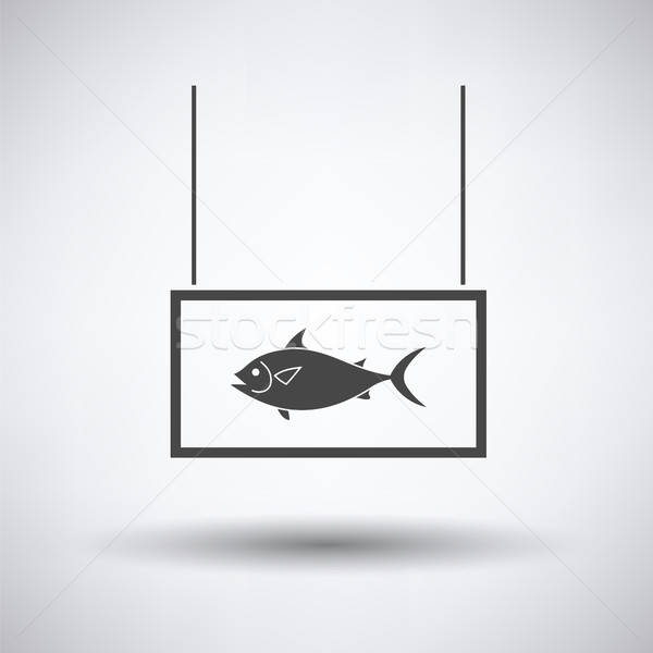 Vis markt afdeling icon grijs zee Stockfoto © angelp