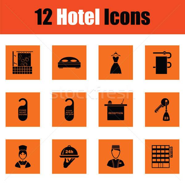 Set of twelve hotel icons Stock photo © angelp